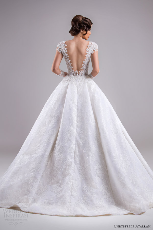 chrystelle atallah bridal spring 2015 ball gown wedding dress illusion sleeves back view