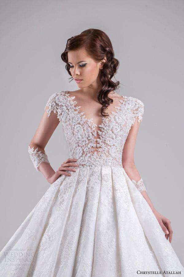 chrystelle atallah bridal spring 2015 ball gown wedding dress illusion sleeves