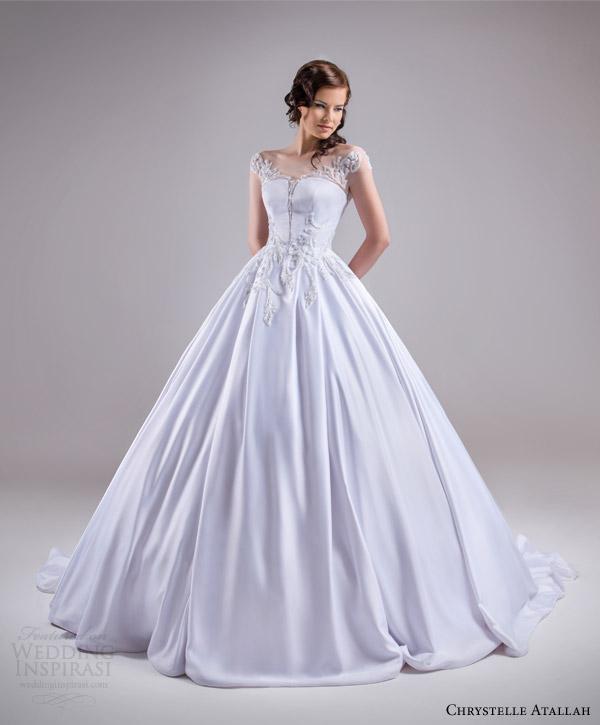 chrystelle atallah bridal spring 2015 illusion cap sleeve princess ball gown weddding dress