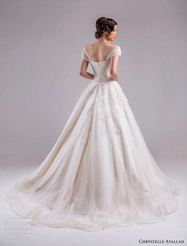 chrystelle atallah bridal spring 2015 off shoulder ruched sleeves bodice a line wedding dress sweetheart neckline back view train
