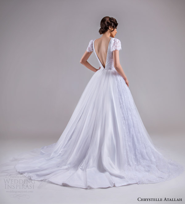 chrystelle atallah bridal spring 2015 short lace puff sleeve ball gown wedding dress deep v open back view train