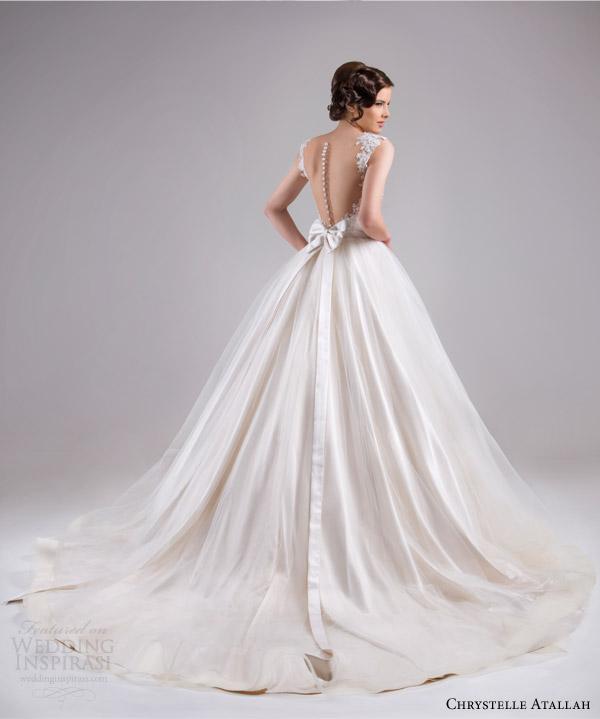 chrystelle atallah bridal spring 2015 sleeveless ball gown wedding dress cap sleeve lace straps horsehair edge skirt back train