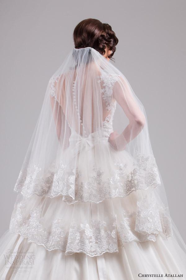 chrystelle atallah bridal spring 2015 sleeveless ball gown wedding dress cap sleeve lace straps horsehair edge skirt back veil view