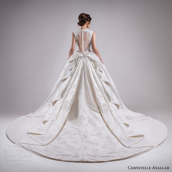 chrystelle atallah bridal spring 2015 sleeveless ball gown wedding dress scalloped neckline illusion back view magnificent train