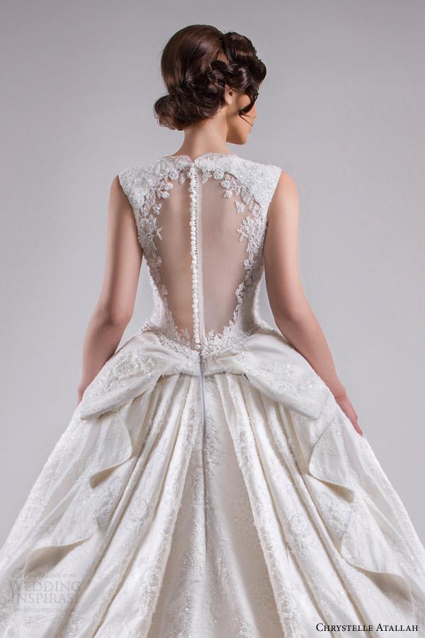 chrystelle atallah bridal spring 2015 sleeveless ball gown wedding dress scalloped neckline illusion back view medium