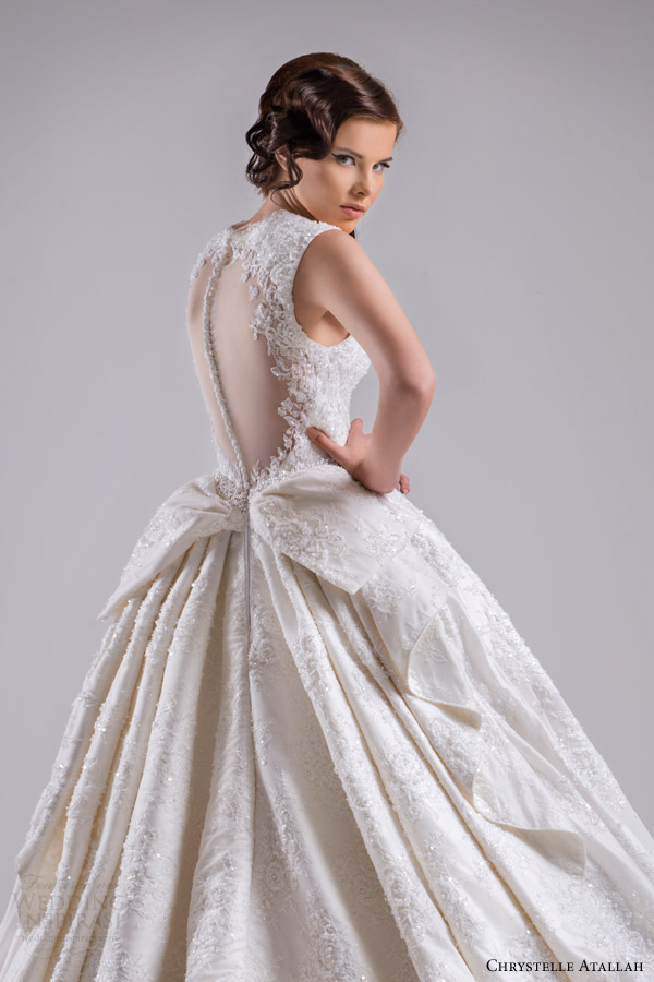 chrystelle atallah bridal spring 2015 sleeveless ball gown wedding dress scalloped neckline illusion back view side close up detail