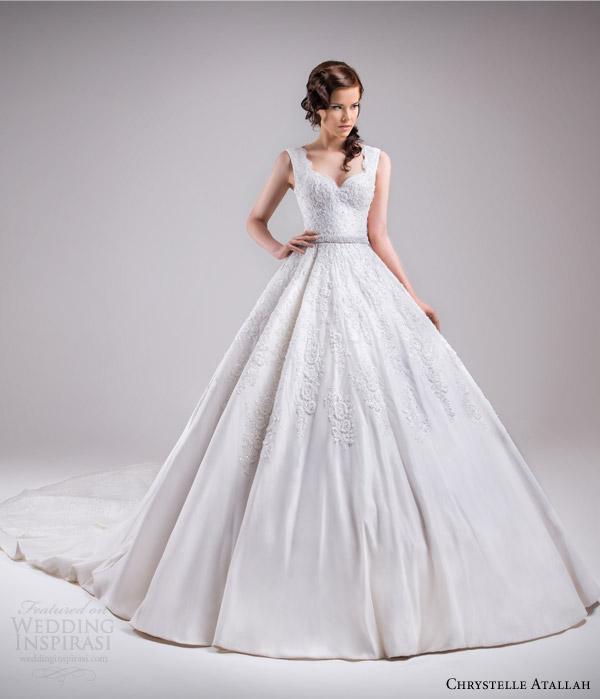 chrystelle atallah bridal spring 2015 sleeveless ball gown wedding dress scalloped neckline