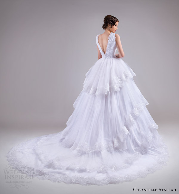 chrystelle atallah bridal spring 2015 sleeveless ball gown wedding dress tiered skirt lace trim back view train