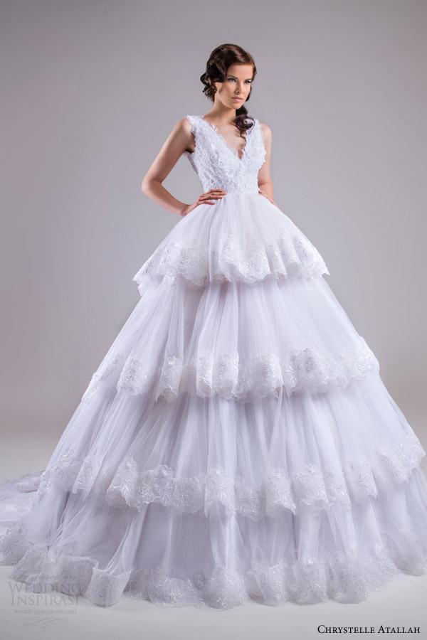 chrystelle atallah bridal spring 2015 sleeveless ball gown wedding dress tiered skirt lace trim