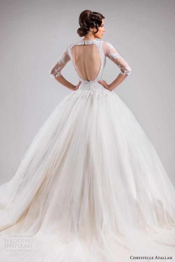 chrystelle atallah bridal spring 2015 three quarter sleeve princess ball gown wedding dress lace bodice v neckline horsehair skirt fairytale train back view close up keyhole