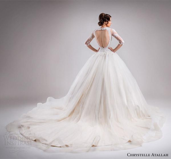 chrystelle atallah bridal spring 2015 three quarter sleeve princess ball gown wedding dress lace bodice v neckline horsehair skirt fairytale train back view