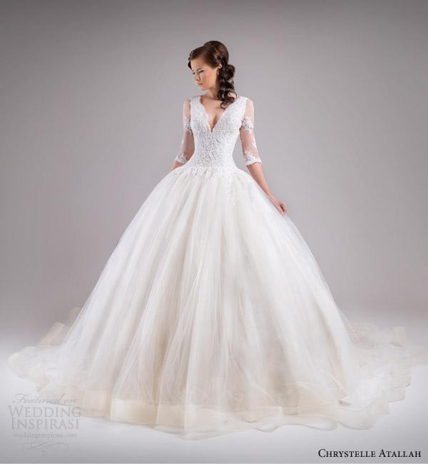 chrystelle atallah bridal spring 2015 three quarter sleeve princess ball gown wedding dress lace bodice v neckline horsehair skirt
