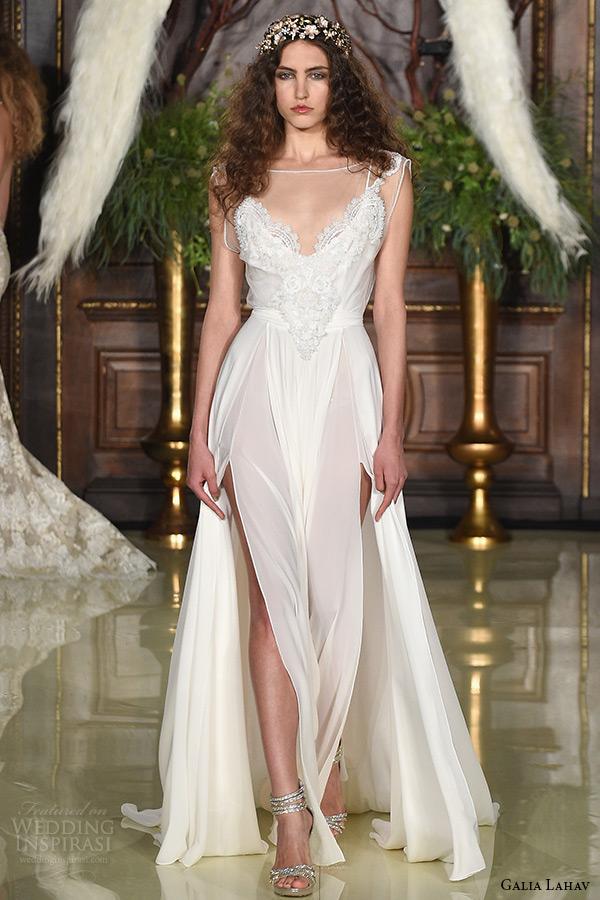 galia lahav wedding dress spring 2016 runway sleeveless sheer illusion bateau neckline modified a line bridal gown