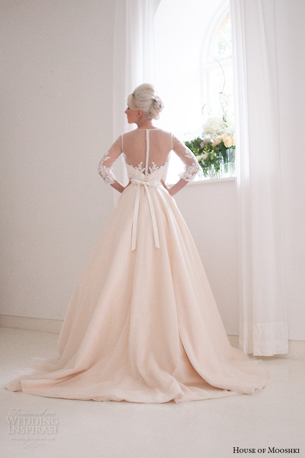 house of mooshki bridal 2015 3 quarter sleeves lace bodice champagne ball gown illusion neckline style annabella back view