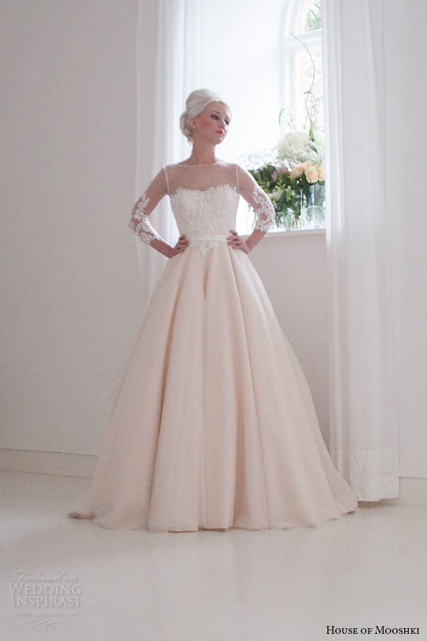 house of mooshki bridal 2015 3 quarter sleeves lace bodice champagne ball gown illusion neckline style annabella full view