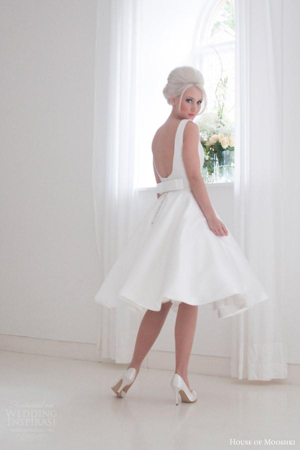 house of mooshki bridal 2015 effie sleeveless vintage tea length short retro wedding dress with pockets back bow