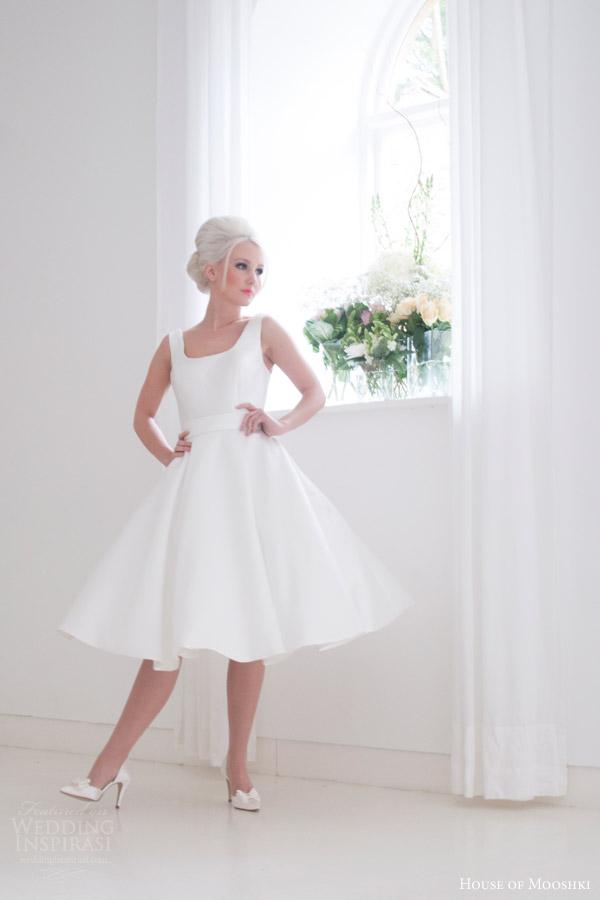 house of mooshki bridal 2015 effie sleeveless vintage tea length short retro wedding dress with pockets