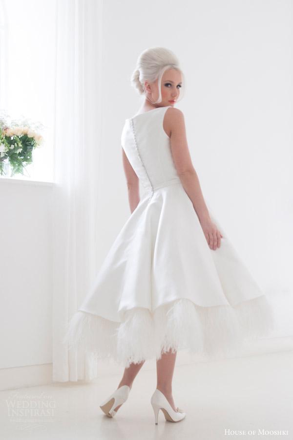 house of mooshki bridal 2015 eliza sleeveless short tea length wedding dress ostrich feather underlay back view
