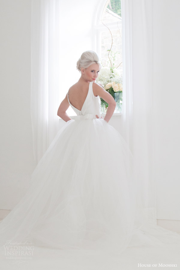 house of mooshki bridal 2015 frida satin sleeveless column gown v neck detachable tulle train back view