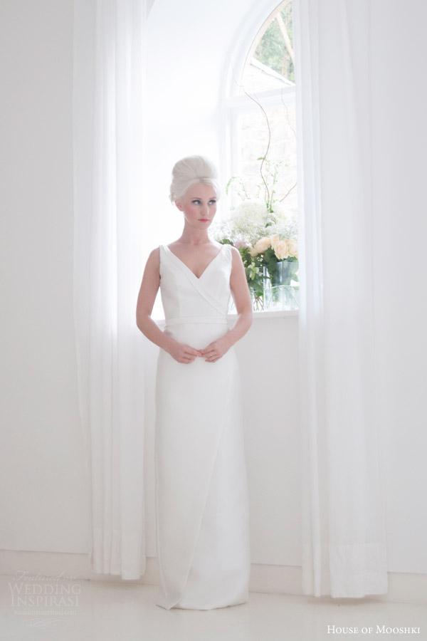 house of mooshki bridal 2015 frida satin sleeveless column gown v neck detachable tulle train