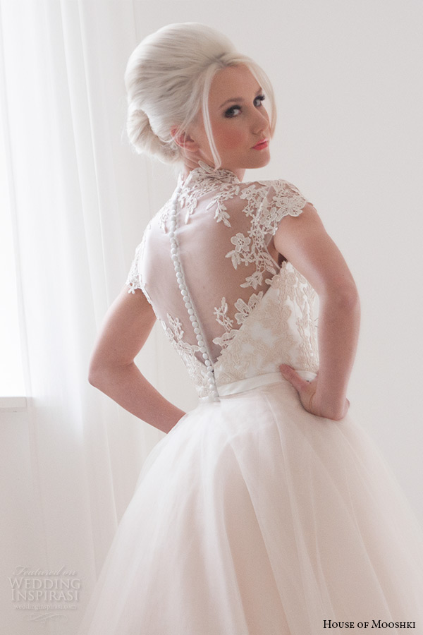 house of mooshki bridal 2015 lace cap sleeves high neck column wedding dress detachable soft champagne tulle train style jemima back zoom
