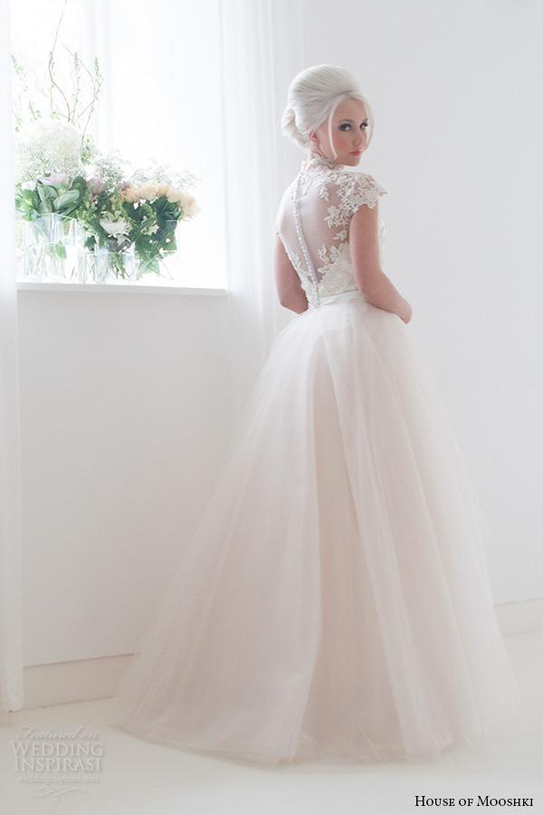 house of mooshki bridal 2015 lace cap sleeves high neck column wedding dress detachable soft champagne tulle train style jemima back