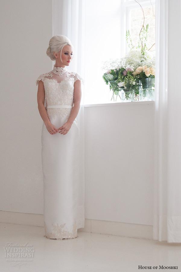 house of mooshki bridal 2015 lace cap sleeves high neck column wedding dress style jemima front