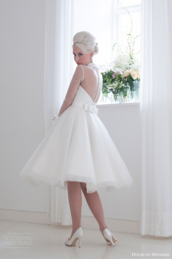 house of mooshki bridal 2015 lola short tea length satin tulle wedding dress illusion sleeves structured cuff collar back view