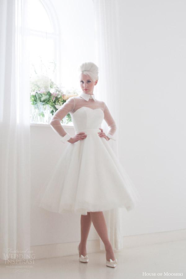 house of mooshki bridal 2015 lola short tea length satin tulle wedding dress illusion sleeves structured cuff collar