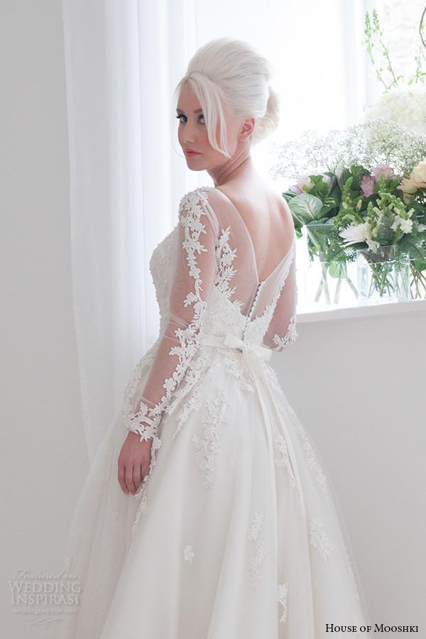house of mooshki bridal 2015 long sleeves illusion neckline sweetheart lace bodice fairytale ball gown tulle overlays beading wedding dress style felicity back zoom