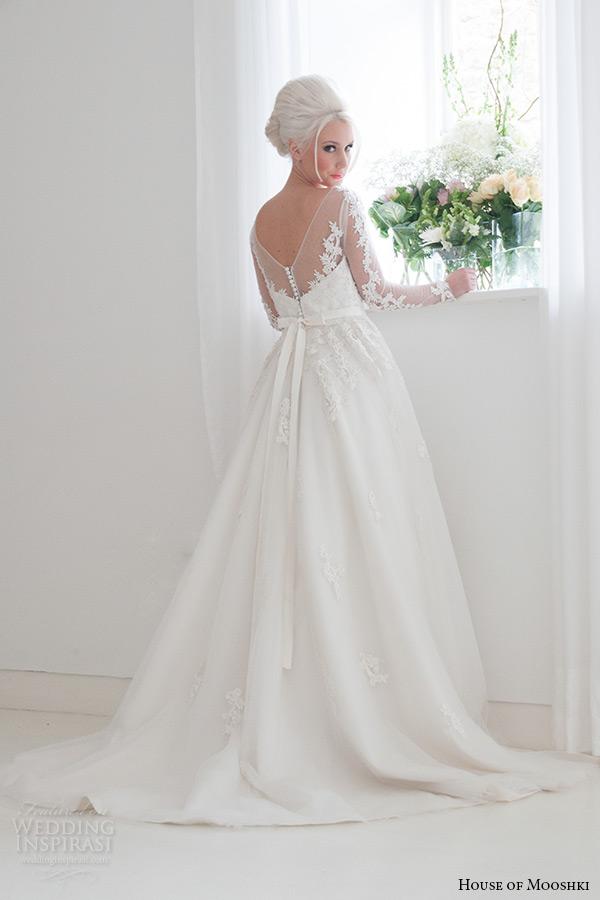 house of mooshki bridal 2015 long sleeves illusion neckline sweetheart lace bodice fairytale ball gown tulle overlays beading wedding dress style felicity back