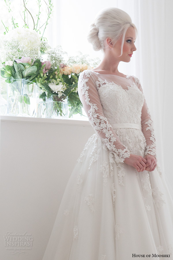 house of mooshki bridal 2015 long sleeves illusion neckline sweetheart lace bodice fairytale ball gown tulle overlays beading wedding dress style felicity zoom