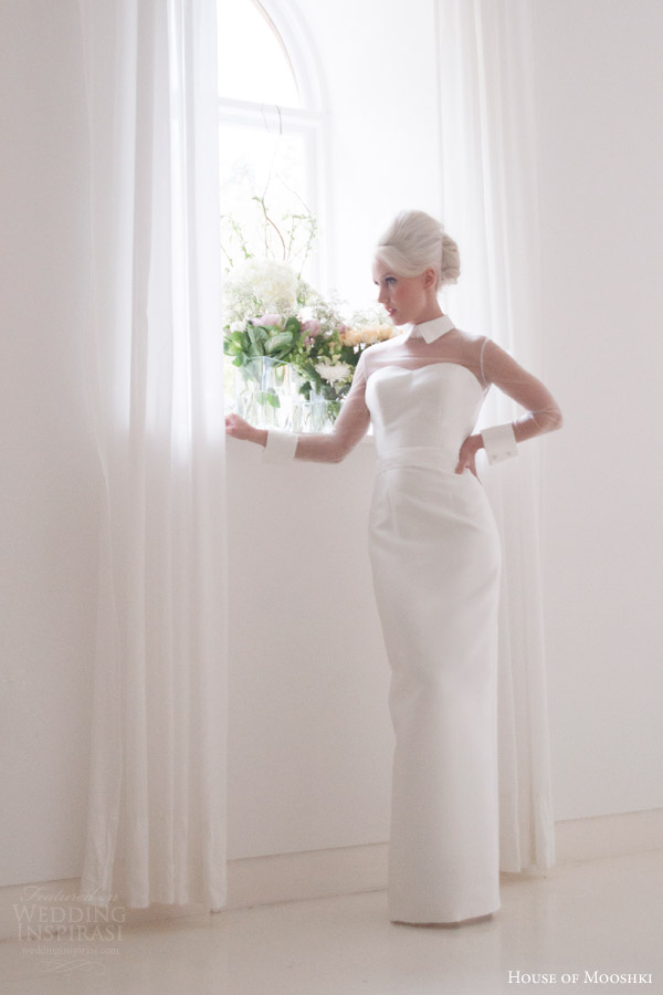 house of mooshki bridal 2015 mina column wedding dress illusion tulle sleeves structured collar cuffs