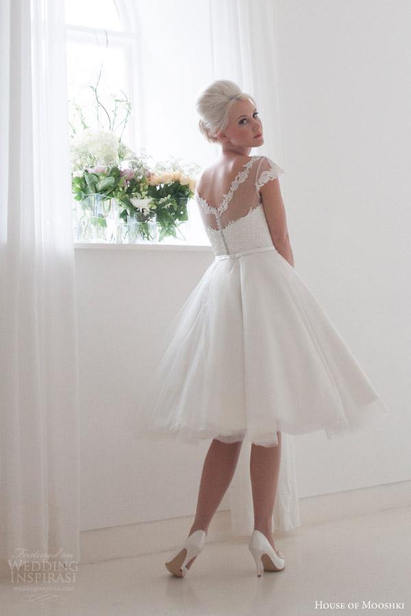 house of mooshki bridal 2015 peony illusion cap sleeve vintage inspired tea length wedding dress full satin circle skirt tulle overlay back view