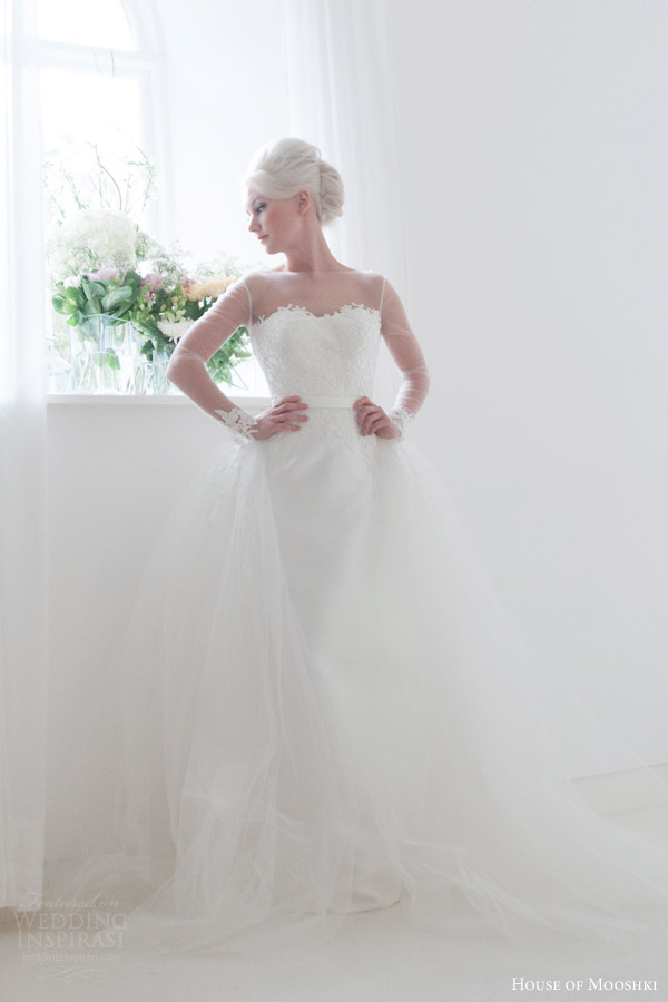house of mooshki bridal 2015 petal  illusion neckline long sleeves satin column wedding dress guipure lace detachable tulle train