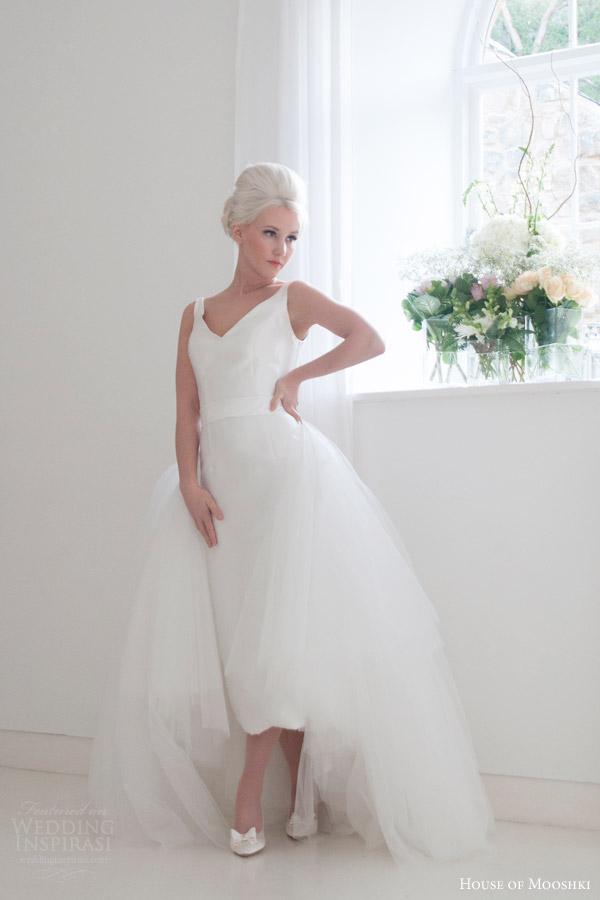 house of mooshki bridal 2015 roseanna sleeveless v neck pencil dress bow back overskirt tulle trrain