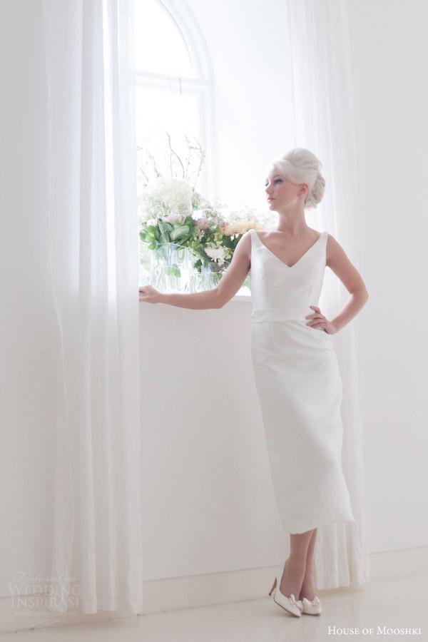 house of mooshki bridal 2015 roseanna sleeveless v neck pencil dress bow back