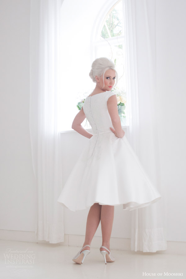 house of mooshki bridal 2015 ruby cap sleeve mikado satin tea length wedding dress back view