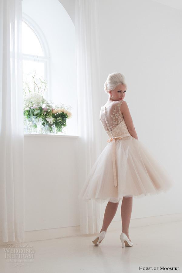 house of mooshki bridal 2015 sleeveless illusion neckline vintage champagne tulle short wedding dress style lottie back full