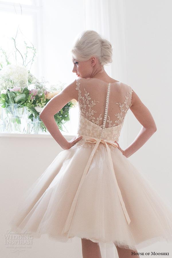 house of mooshki bridal 2015 sleeveless illusion neckline vintage champagne tulle short wedding dress style lottie back zoom