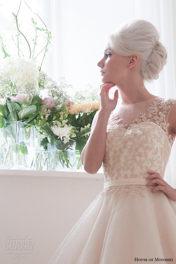 house of mooshki bridal 2015 sleeveless illusion neckline vintage champagne tulle short wedding dress style lottie full zoom