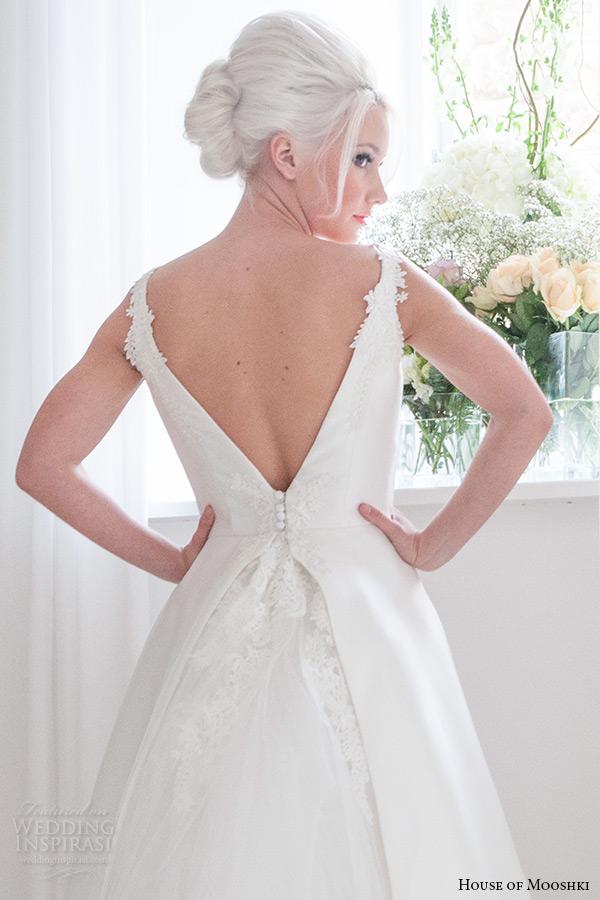 house of mooshki bridal 2015 strapless plunging v neckline lace detachable tulle train waist ribbon wedding dress style georgina back view zoom