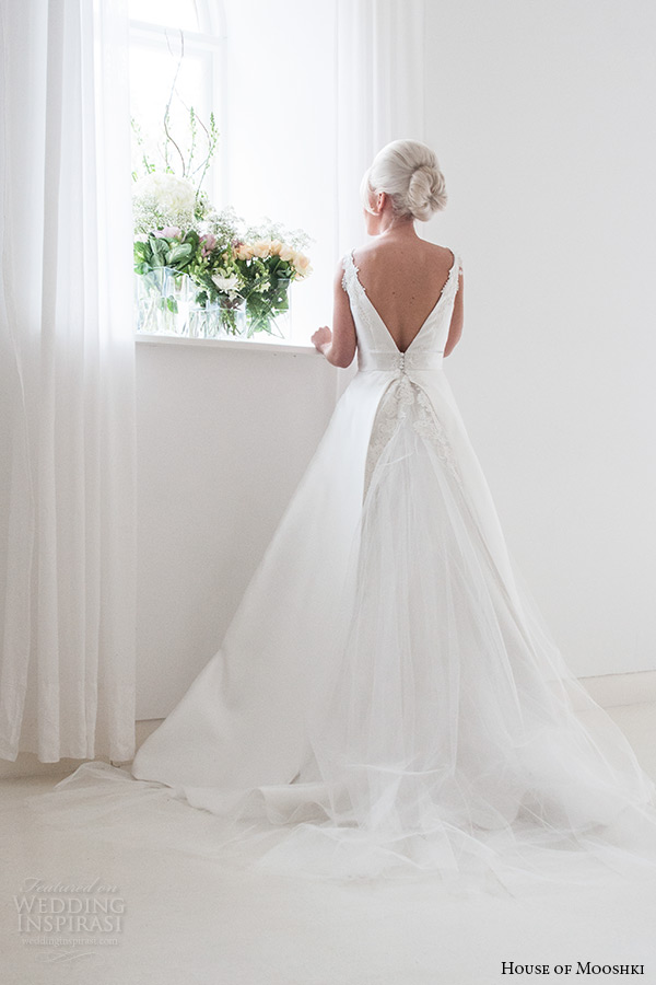 house of mooshki bridal 2015 strapless plunging v neckline lace detachable tulle train waist ribbon wedding dress style georgina back view