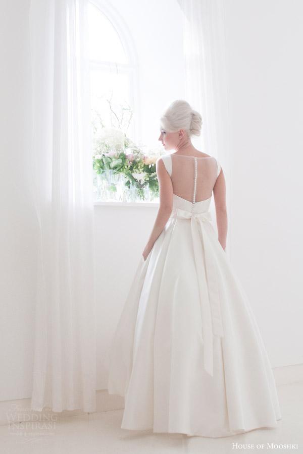 house of mooshki bridal 2015 tessa high low satin gown full ball gown skirt back view