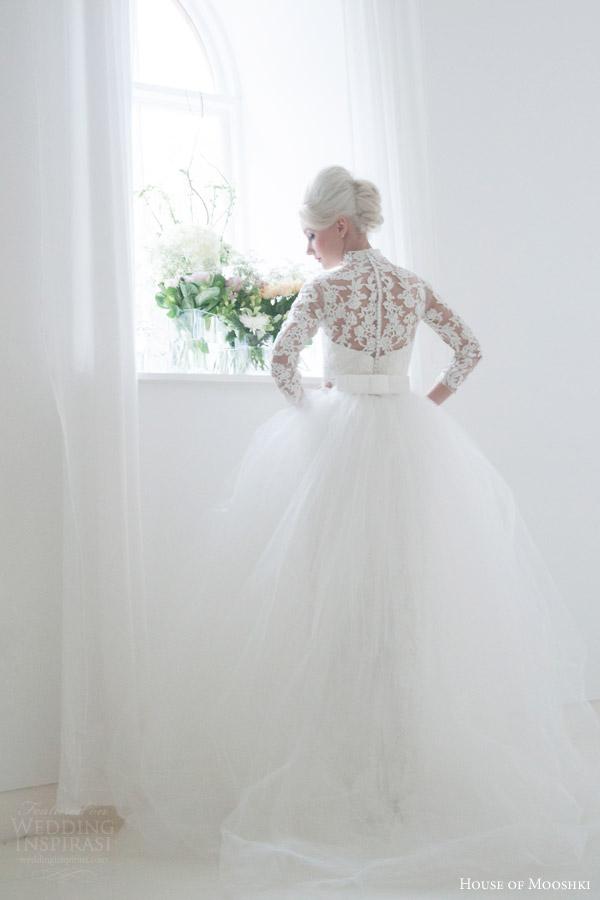 house of mooshki bridal 2016 eleanor grace kelly vintage inspired lace column wedding dress illusion tulle lace neckline sleeves overlay skirt back