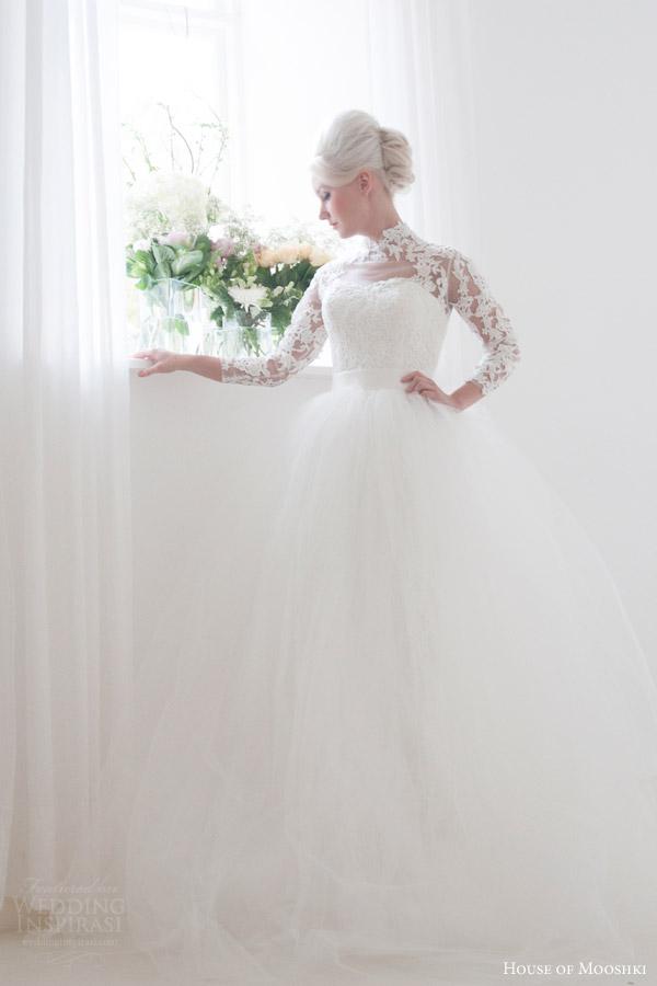 house of mooshki bridal 2016 eleanor grace kelly vintage inspired lace column wedding dress illusion tulle lace neckline sleeves overlay skirt