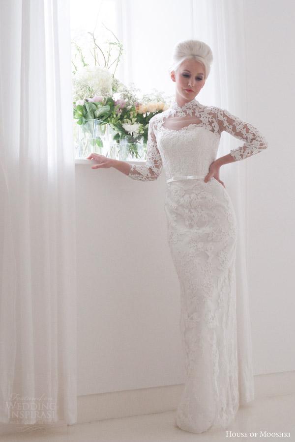 house of mooshki bridal 2016 eleanor grace kelly vintage inspired lace column wedding dress illusion tulle lace neckline sleeves