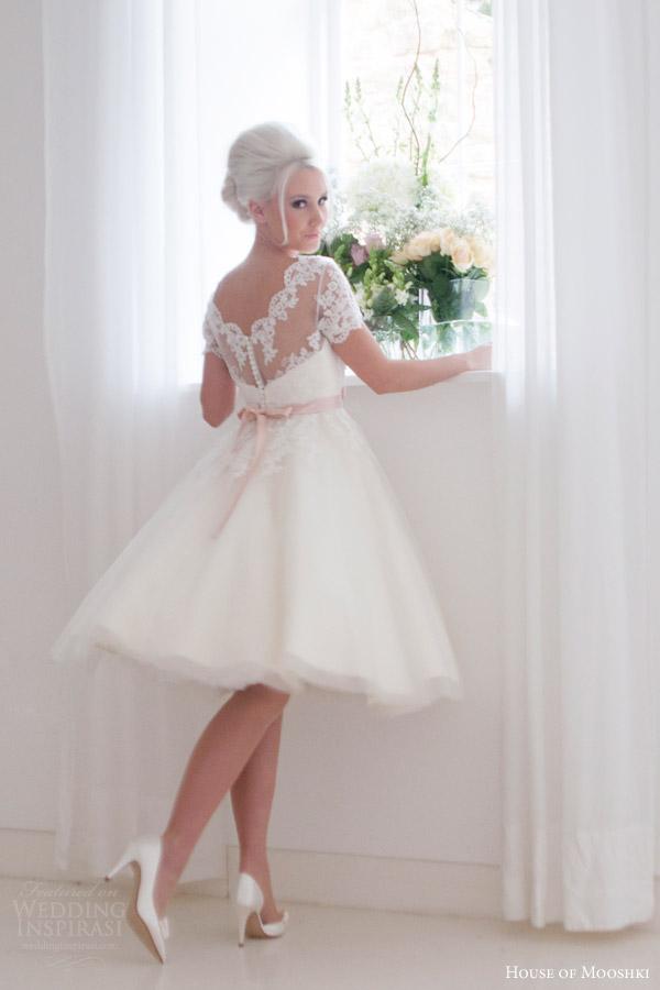 Tea Length Lace Wedding Dress 24 Good house of mooshki bridal