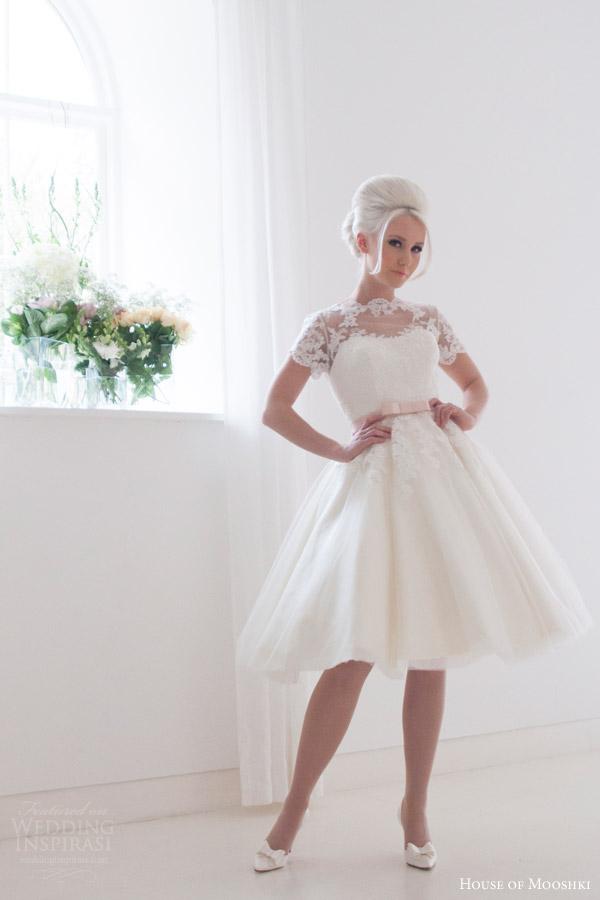 house of mooshki bridal 2016 kimmie short tea length tulle lace wedding dress short lace sleeves