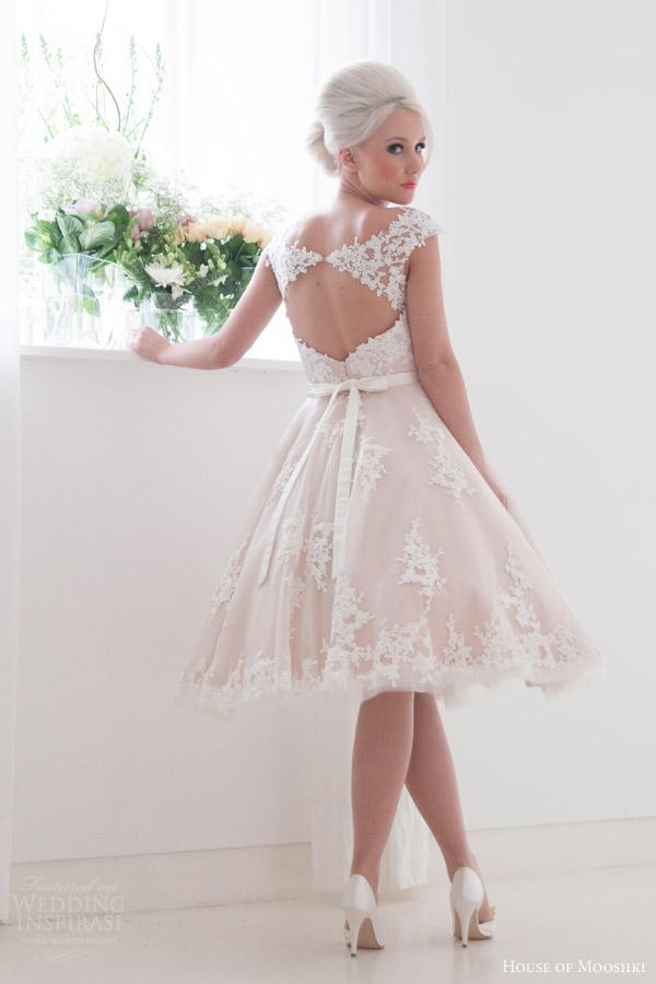 house of mooshki bridal 2016 leonora blush cap sleeve tea length wedding dress guipure lace tulle keyhole back